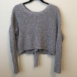 NWOT Hollister Lace Up Back Cropped Gray Sweater